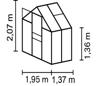 Vitavia Gewächshaus Apollo 2500 inkl. 1 Dachfenster, 2,5m²